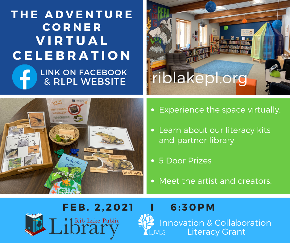 The Adventure Corner Virtual Celebration February 2nd at 6:30pm. Prize drawings, meet the artists, explore the space.