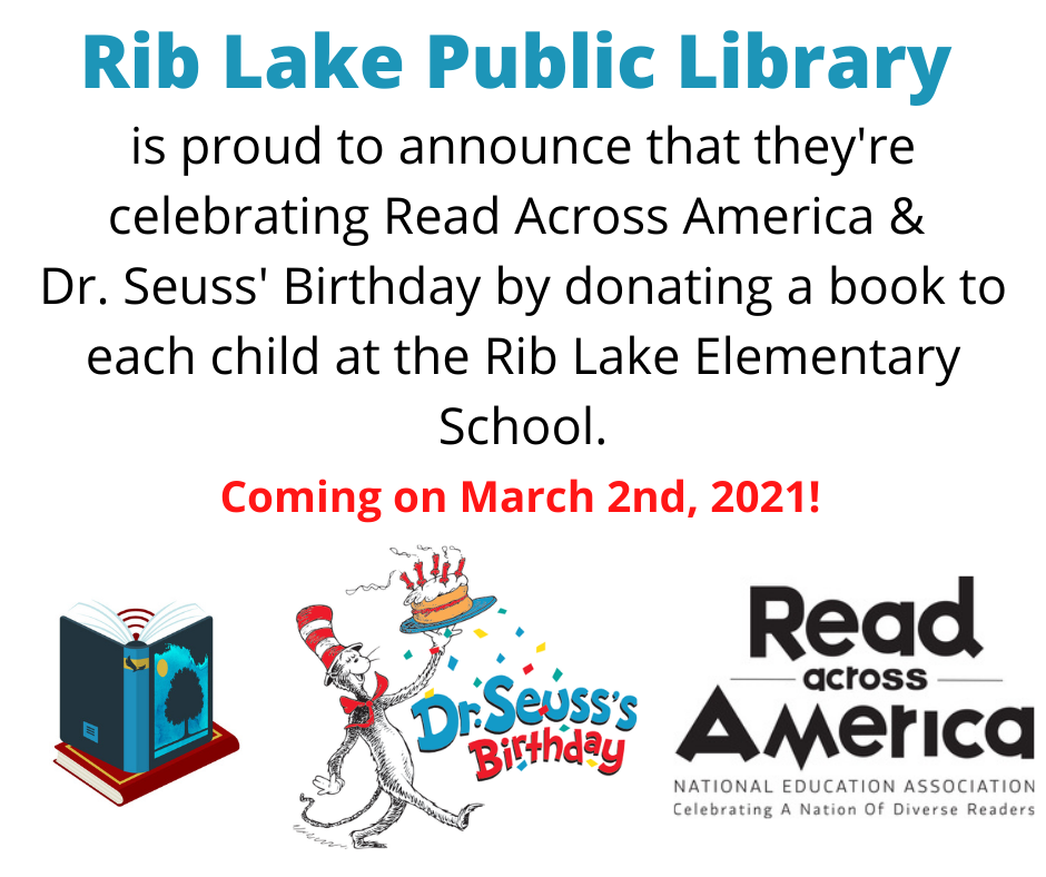 Read Across America: Rib Lake Public Library donating a book to every child at Rib Lake elementary!